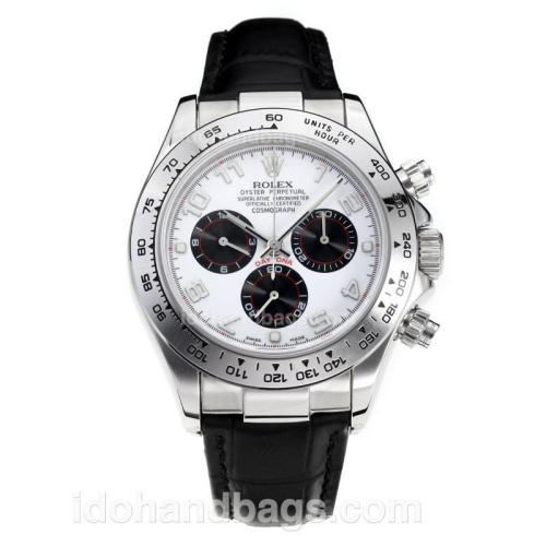 Rolex Daytona Super Luminous Chronograph Swiss Valjoux 7750 Movement with White Dial-Leather Strap-Sapphire Glass 187110
