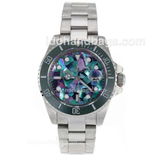 Rolex Submariner Automatic Green Ceramic Bezel with Puzzle Style MOP Dial S/S-Sapphire Glass 119076