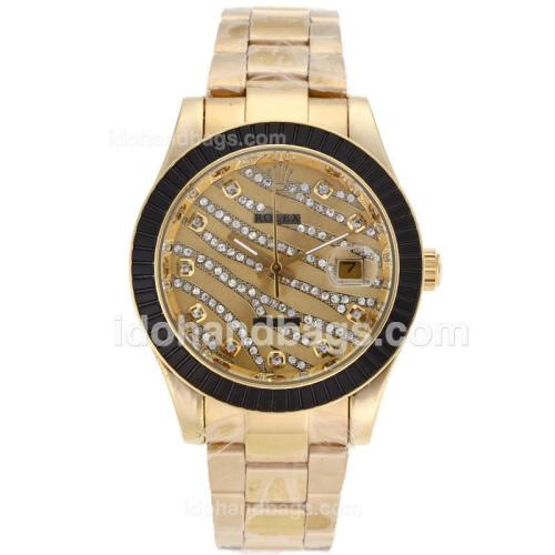Rolex Datejust II Automatic Gold Case Diamond Markers with Black Ruby Bezel-Royal Golden Design Diamond Crested Dial 87810