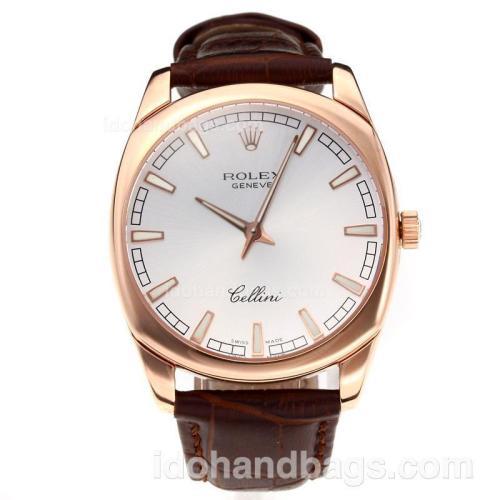 Rolex Cellini Luminous Swiss ETA Movement Rose Gold Case with Silver Dial-Leather Strap-Sapphire Glass 194504