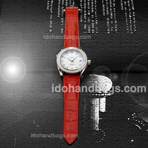 Omega Seamaster Diamond Markers and Bezel with White Dial-Red Leather Strap(Gift Box is Included) 182798