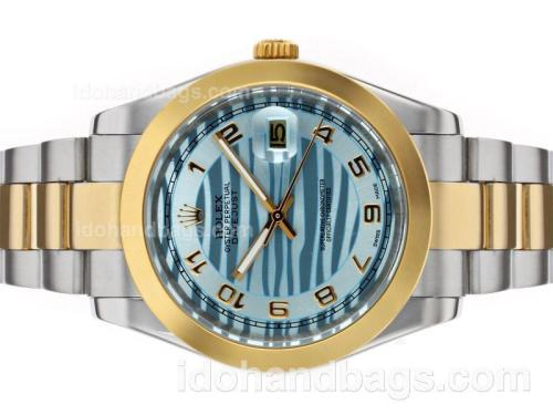 Rolex Datejust II Automatic Two Tone Number Markers with Blue Wave Dial 48524