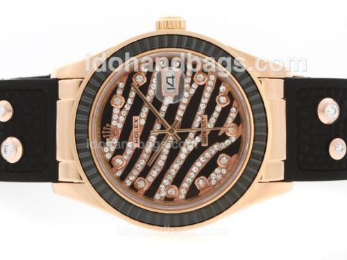 Rolex Datejust Automatic Rose Gold Case Diamond Marking with Black Ruby Bezel-Royal Black Design Diamond Crested Dial 36637
