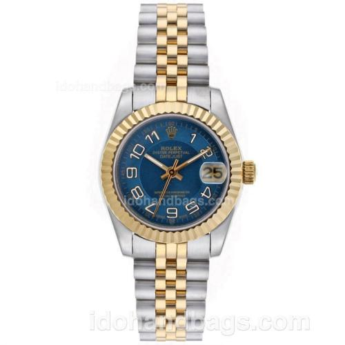 Rolex Datejust Automatic Two Tone Roman Markers with Blue Dial-Mid Size 64222
