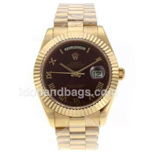 Rolex Day-Date II Swiss ETA 2836 Movement Full Gold Roman Markers with Brown Dial 62532