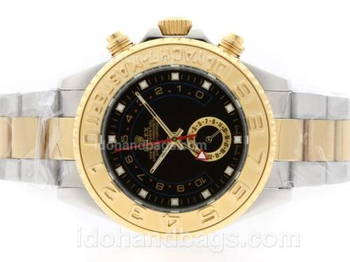 Rolex Yacht-Master II Automatic Working GMT Two Tone with Black Dial 37761