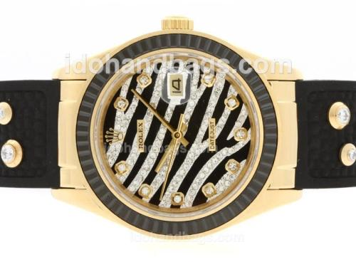 Rolex Datejust Automatic Gold Case Diamond Marking with Black Ruby Bezel-Royal Black Design Diamond Crested Dial 36663