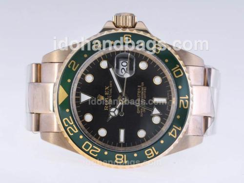 Rolex GMT-Master II Automatic Full Gold with Black Dial-Green Bezel 24424