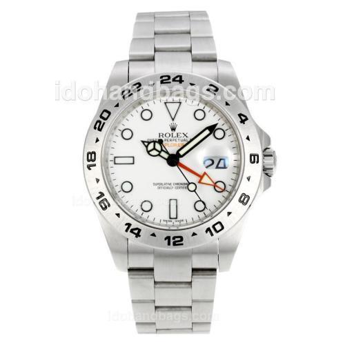 Rolex Explorer II Working GMT Swiss ETA 2836 Movement with Super Luminous White Dial S/S 146484