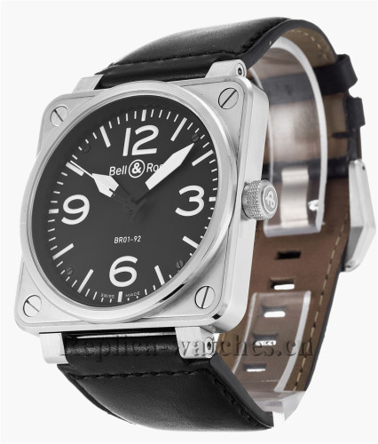 Bell and Ross Black Leather Strap BR01-92 Steel