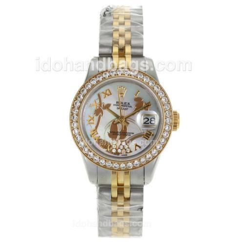 Rolex Datejust Automatic Two Tone Diamond Bezel Roman Markers with White MOP Dial-Flowers Illustration 116222