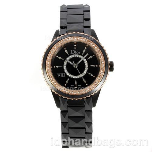 Dior VIII Ladies Watch Full Ceramic with Black Dial-Rose Gold/Diamond Bezel 136974