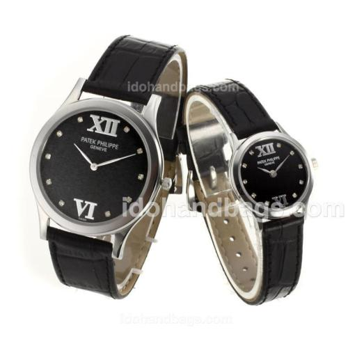 Patek Philippe Classic Diamond Markers with Black Dial-Sapphire Glass 74357