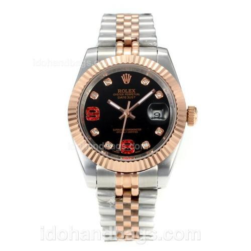 Rolex DateJust II Automatic Two Tone with Black Dial-Diamond Markers 167736