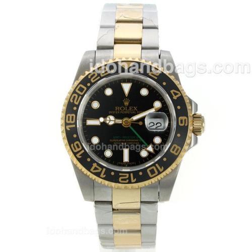 Rolex GMT-Mater II Swiss ETA 2836 Movement Two Tone with Black Dial-Ceramic Bezel 27384