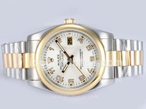 Rolex Datejust Automatic Two Tone with White Dial-Number Marking 15188