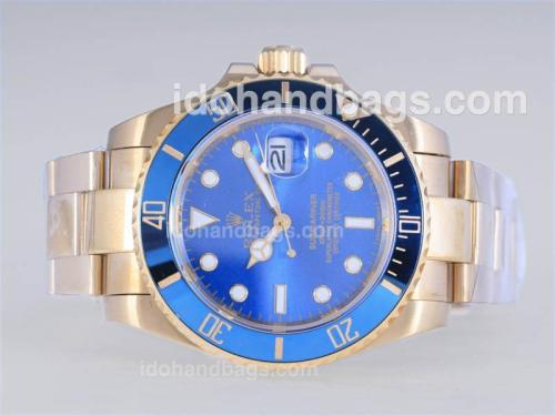 Rolex Submariner Automatic Full Gold with Light Blue Dial Ceramic Bezel-2008 New Version 25215