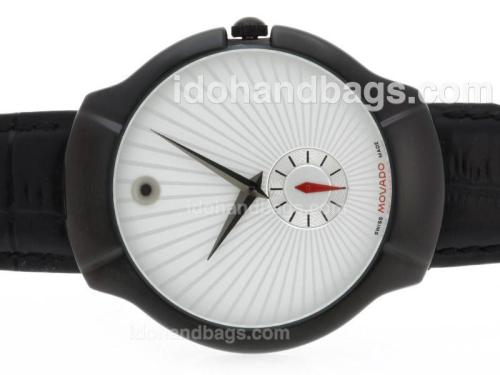 Movado Classic PVD Case with White Dial-Leather Strap 39317