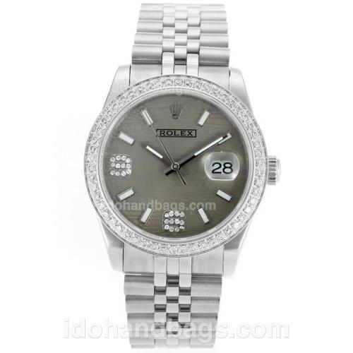 Rolex Datejust Swiss ETA 2836 Movement Diamond Bezel with Gray Watermark Dial S/S 112332