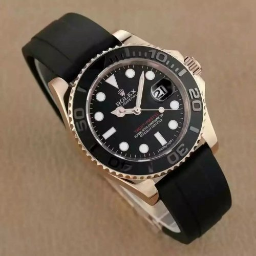 Rolex Yachtmaster Rose Gold Black Rubber Strap 116655 Mens Watch
