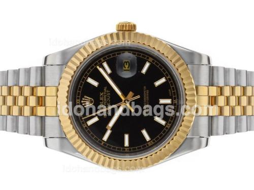 Rolex Datejust II Automatic Two Tone Stick Markers with Black Dial 48528