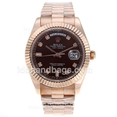 Rolex Day-Date II Swiss ETA 2836 Movement Full Rose Gold Diamond Markers with Brown Dial 62528
