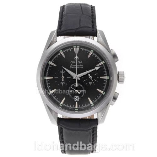 Omega Seamaster Working Chronograph with Black Dial-Leather Strap 61225