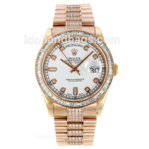 Rolex Day-Date Automatic Full Rose Gold with White Dial-CZ Diamond Bezel and Markers-Same Chassis as ETA Version 127952