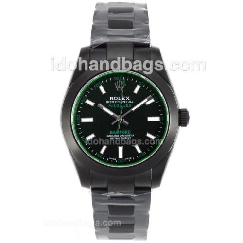 Rolex Milgauss Bamford Automatic Full PVD with Black Dial-Tinted Green Glass 55859