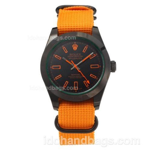 Rolex Milgauss Automatic PVD Case with Black Dial-Orange Cloth Strap 203688