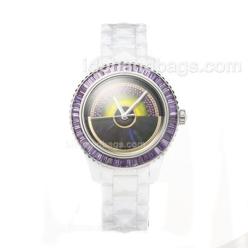 Christian Dior VIII Full Ceramic Diamond Bezel with Purple Dial 187660