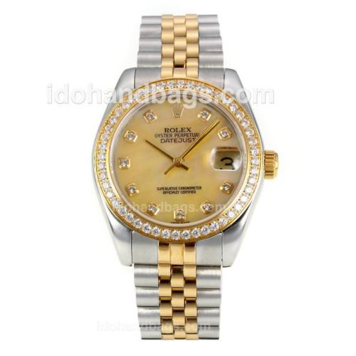 Rolex Datejust Automatic Two Tone Diamond Bezel with MOP Dial-Same Chassis as ETA Version 175884