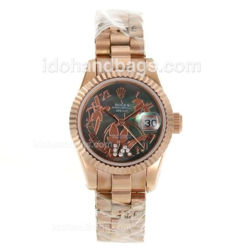 Rolex Datejust Automatic Full Rose Gold Roman Markers with MOP Dial-Flowers Illustration 116270
