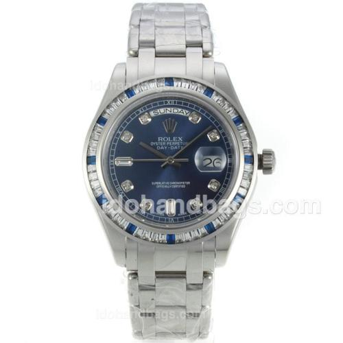 Rolex Masterpiece Automatic CZ Diamond Bezel with Blue Dial-Diamond Markers S/S-Same Chassis as ETA Version 127048