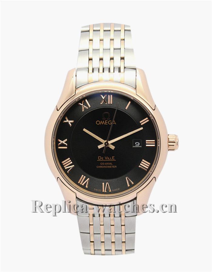 Omega De Ville Hour Vision Black Dial Gold Bezel 41 MM
