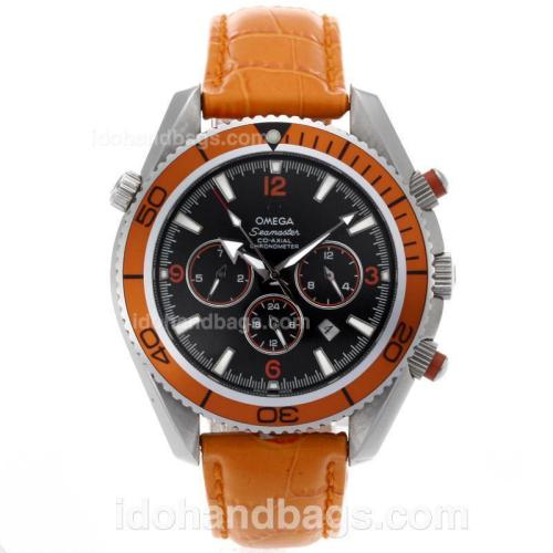 Omega Seamaster Planet Ocean Automatic with Orange Markers and Bezel-Leather Strap 64277