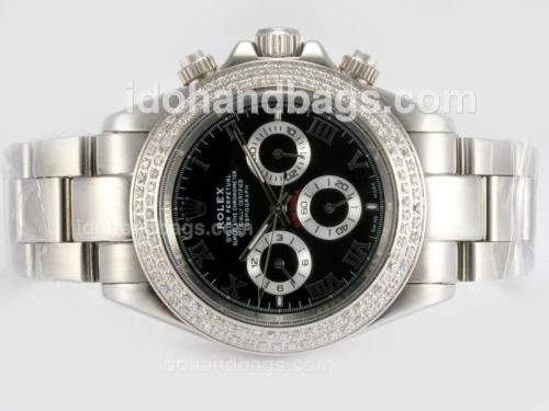 Rolex Daytona Automatic Diamond Bezel with Black Dial-Roman Marking 16206
