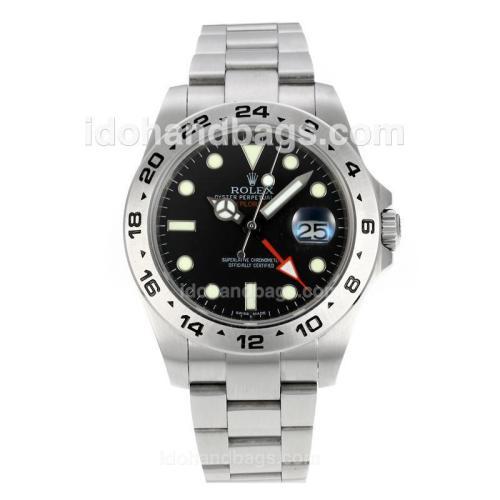 Rolex Explorer II Working GMT Swiss ETA 2836 Movement with Super Luminous Black Dial S/S 146486