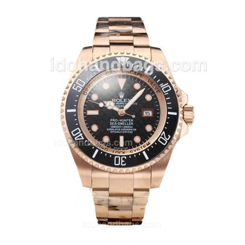 Rolex Sea Dweller Automatic Rose Gold Case Ceramic Bezel with Black Carbon Fibre Style Dial-Same Chassis as Swiss Version 162272