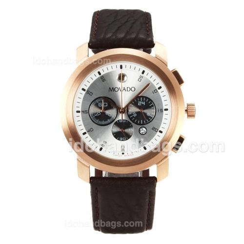 Movado Working Chronograph Rose Gold Case with Silver Dial-Leather Strap 167848