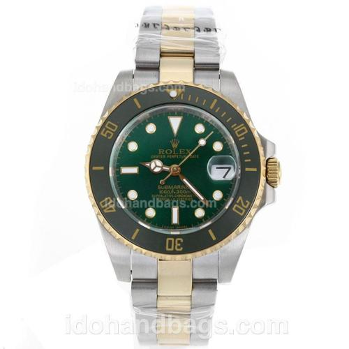Rolex Submariner Automatic Two Tone Ceramic Bezel with Green Dial-Sapphire Glass 119240