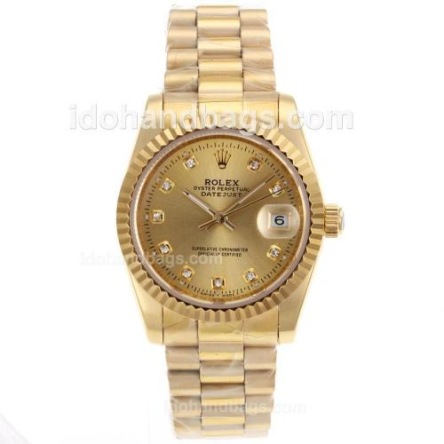Rolex Datejust Automatic Full Gold Diamond Marking with Golden Dial-Sapphire Glass 72725