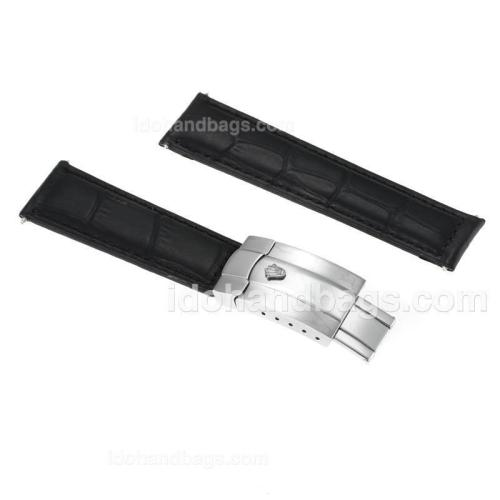 Rolex Black Leather Strap with Deployment Buckle for Datejust Version 166360