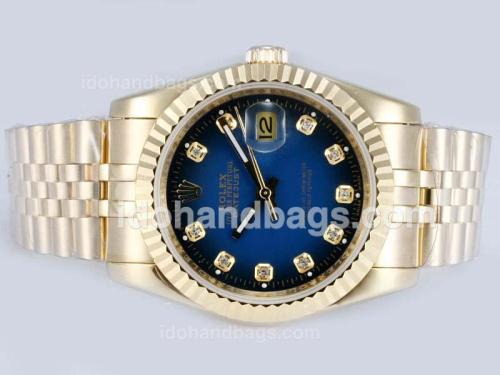 Rolex Datejust Automatic Full Gold Diamond Markings with Blue Dial 15176