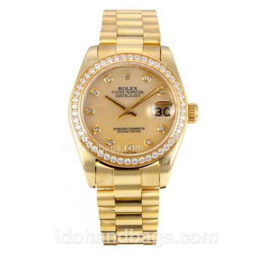Rolex Datejust Automatic Full Gold Diamond Bezel with MOP Dial-Same Chassis as ETA Version 175888