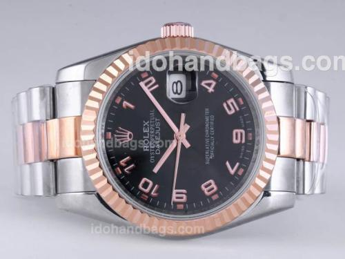 Rolex Datejust Automatic Rose Gold/Two Tone with Black Dial-Number Marking 25920