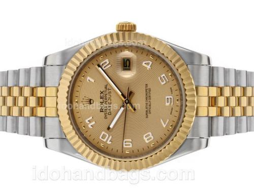 Rolex Datejust II Automatic Two Tone Number Markers with Golden Dial 48527
