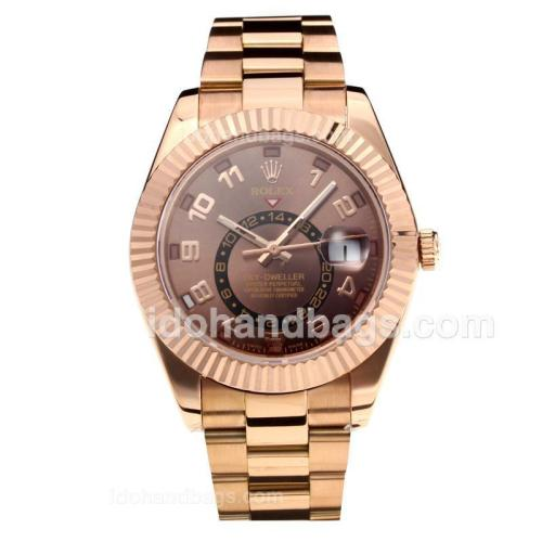 Rolex Sky Dweller Automatic Full Rose Gold with Coffee Dial-Number Markers-Same Chassis as the Swiss Version 195264