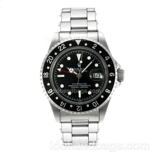 Rolex GMT-Master Swiss ETA 2836 Movement Vintage Edition with Black Dial White Markers-Rivet Strap 126820