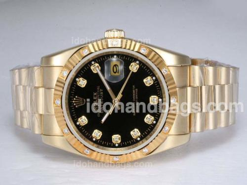 Rolex Datejust Automatic Full Gold with Diamond Marking-Black Dial 11791